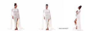 Evianna Ivory Gown • Long Sleeve Maternity Gown • Goddess Maternity • Maternity Photos • Baby Shower Gown • Pregnancy Chic