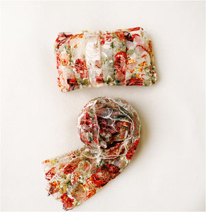 Autumn Floral Baby Wrap and Pillow Set