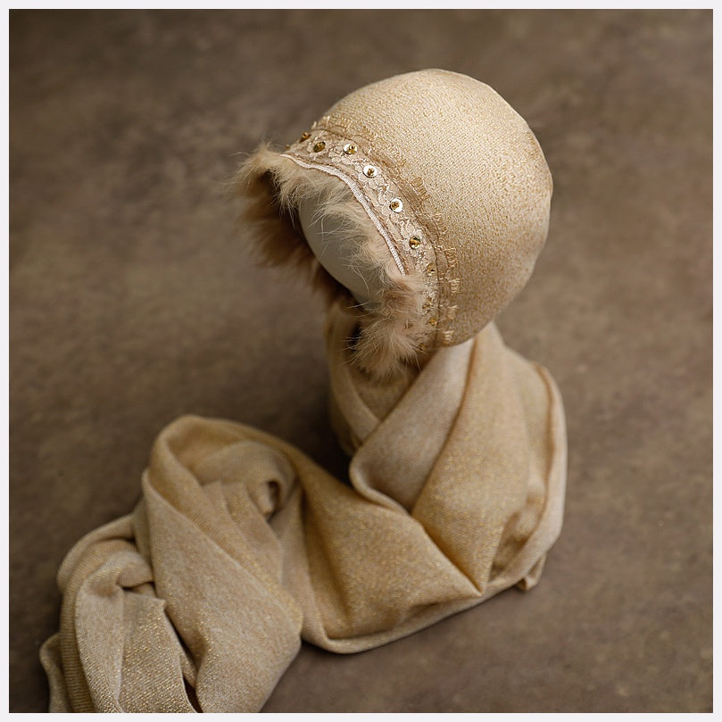 Newborn Baby Bonnet + Wrap: Golden Shimmer