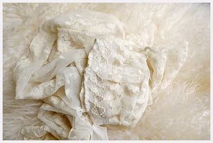 Newborn Baby Bonnet + Wrap: Delicate Cream