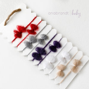 Mohair Bow Tie Back Set - 8 colors 2 sizes