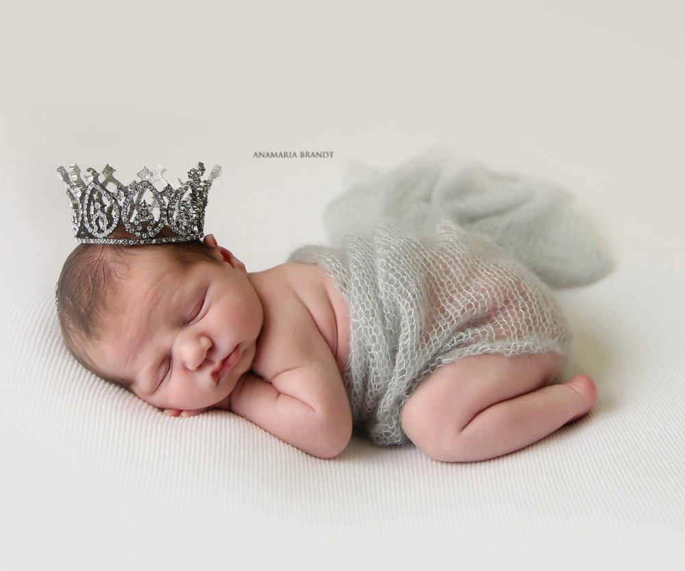 Newborn Baby Wrap and Crown Light Blue Green and Denim Colors, White