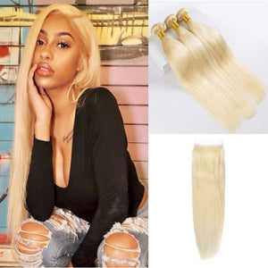 Blonde-613-human-hair-bundles-brazilian -straight-with-free-part-lace-closure-deal