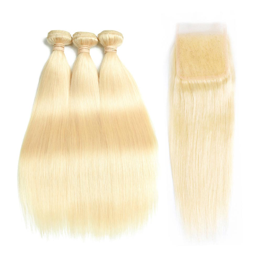 Blonde-613-human-hair-weaves-brazilian -straight-with-free-part-lace-closure-deal