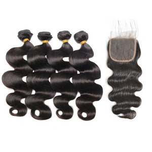 Brazilian-body-wave-virgin-hair-4-bundles-with-4x4-lace-closure-free-shipping-unprocessed-human-hair