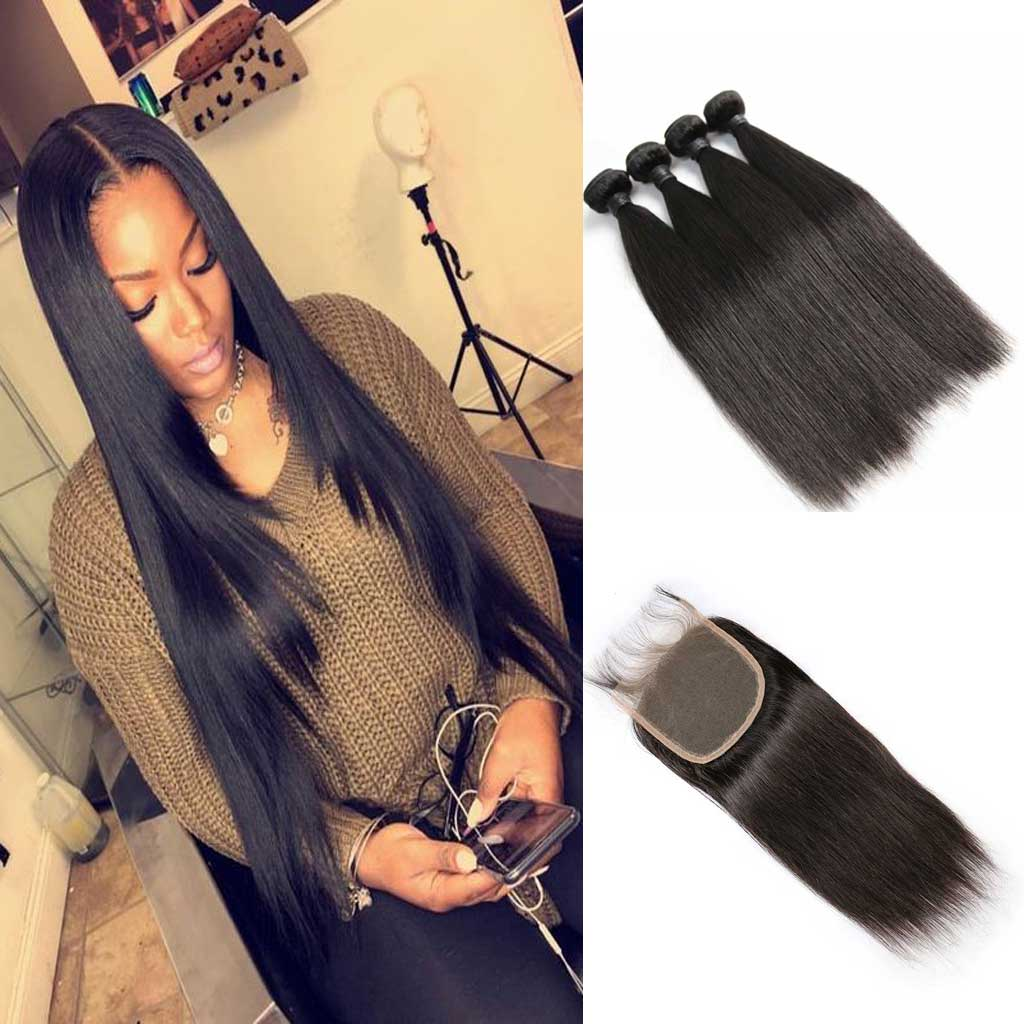 Brazilian-virgin-hair-straight-4-bundles-deal-human-hair-weaves-with-4x4-swiss-lace-closure