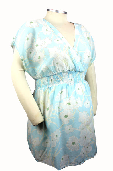 Becoming Maternity | Light blue with pale blue floral print short sleeve Gap Maternity top