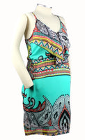 Becoming Maternity | Mint Aztec print Pink Blush Maternity dress