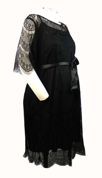 Becoming Maternity | Black lace short sleeve formal Motherhood dress