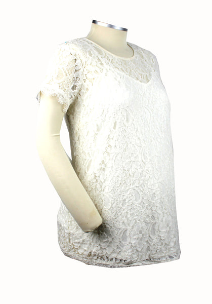 Becoming Maternity | Cream lace short sleeve blouse with matching camisole