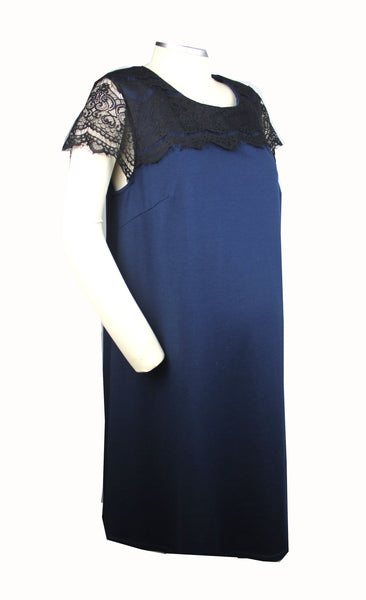 Becoming Maternity |Navy black lace short sleeve and neckline Liz Lange Maternity dress