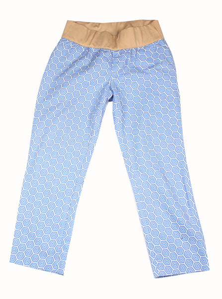 Becoming Maternity |Blue and white geometric print slimmed cropped Gap Maternity pants