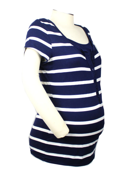 A classic and preppy staple, this navy and white striped short sleeve top with button front and attached camisole looks great with white, denim or khaki. Nursing-friendly!
