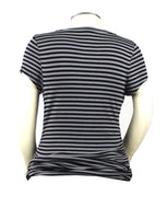 Grey is the new black! This dark grey and black striped short sleeve t-shirt would go great with just about anything.