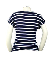 A classic and preppy staple, this navy and white striped short sleeve top with button front looks great with white, denim or khaki.