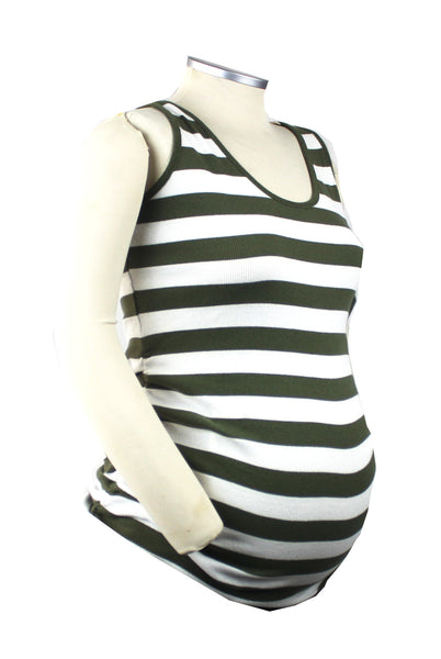Throw this rich green and white striped tank on with some white shorts and finish with some big sunglasses and a caramel bag for a Becoming and on-trend mom-to-be look.