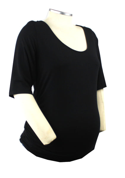 This basic black t-shirt with scope neckline and half sleeve is certain to provide you with comfort and endless styling options throughout your pregnancy.