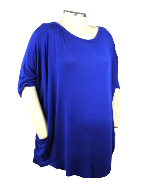 This light-weight, super soft royal blue top features flowy cocoon sleeve and a classic scope neckline. The perfect addition to your bump wardrobe.