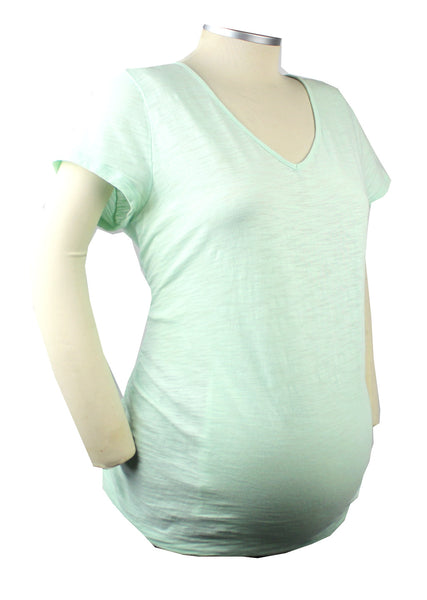 Simple style and comfort makes for a very happy mom-to-be. This mint green short sleeve v-neck burnout t-shirt is a perfect summer maternity staple.