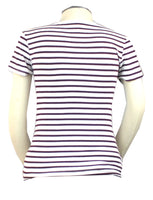Life as a mom is complicated enough! Keep it simple and stylish with this white and burgundy striped short sleeve scoop neck t-shirt.