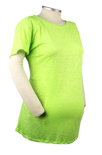 Watch out world there's a mom-to-be coming your way! If you're looking for a fun pop of color, look no further than this neon lime green burnout t-shirt.