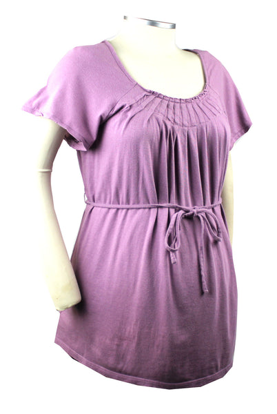 This darling mauve colored top with pleated neckline and belly tie can dress up those maternity jeans or provide comfortable professional style with your maternity slacks.