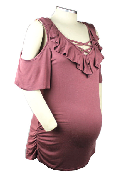 This super soft and stretchy dusty rose cross neck and ruffle cold shoulder top is the perfect addition to your maternity and post baby bump wardrobe. Non-maternity