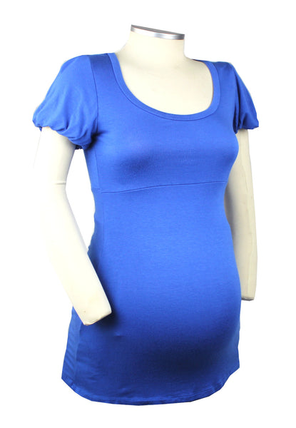 This so soft scope neck shirt is over the top cute with ruffled sleeve in the perfect shade of blue.