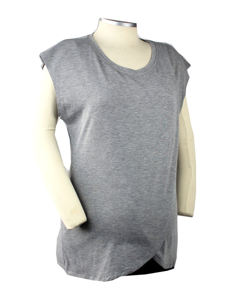 This grey tulip hem nursing top with a black pull over nursing panel is both stylish and functional.