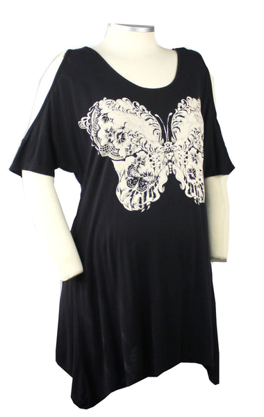 This super soft and stretchy cold shoulder top with butterfly graphic is the perfect addition to your maternity and post baby bump wardrobe.