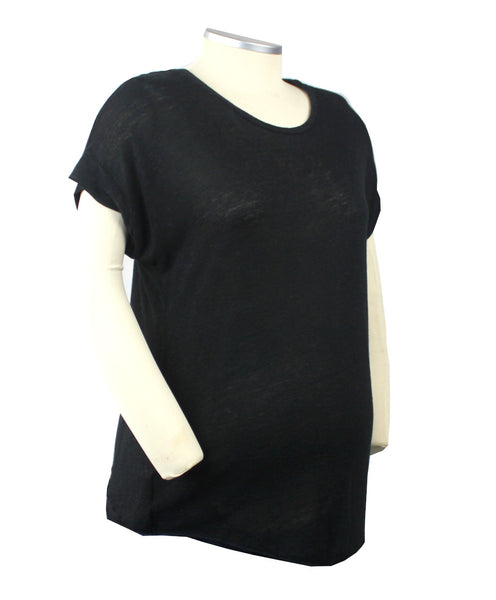 Simple style and comfort makes for a very happy mom-to-be. This black short cuff sleeve burnout t-shirt is a perfect summer maternity staple.