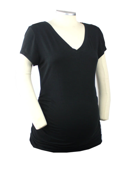This basic black short sleeve v-neck t-shirt is certain to provide you with comfort and endless styling options throughout your pregnancy.