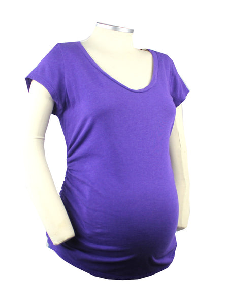 This basic purple short sleeve scope neck t-shirt is certain to provide you with comfort and easy style for your growing bump.