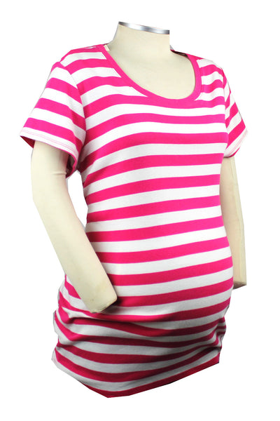 If you're pretty in pink, then you're just perfect in this pink and white short sleeve boat neck top.