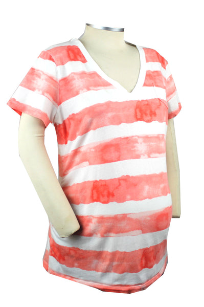 A fresh take on the traditional striped shirt, this white and salmon short sleeve v-neck t-shirt has just enough of a tie-dyed effect to allow you to sit with the cool moms.