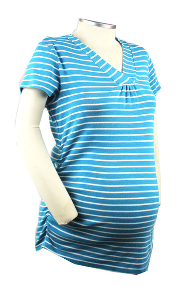 Life as a mom is complicated enough! Keep it simple and stylish with this turquoise and white striped short sleeve v-neck t-shirt.