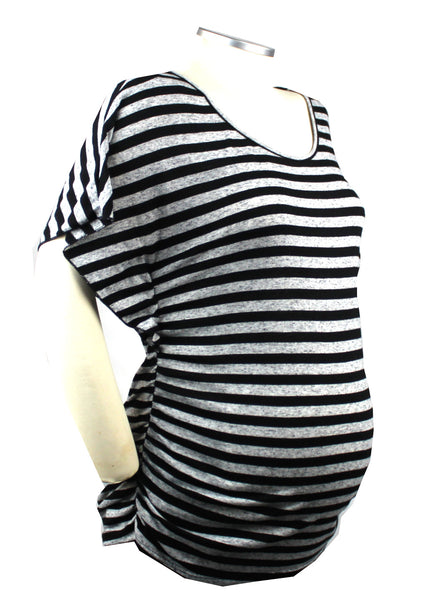 This heather grey and black striped top with adorable butterfly sleeves is a great first trimester piece that will dress up your bump throughout your pregnancy.