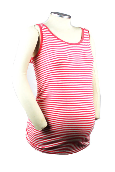 Throw this white and orange striped tank on with some white shorts and finish with some big sunglasses and a denim jacket for a Becoming and on-trend mom-to-be look.
