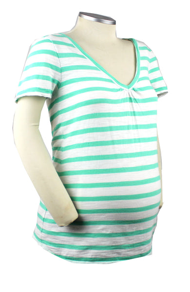 Simple style and comfort makes for a very happy mom-to-be. This white and green striped short sleeve t-shirt is a perfect summer maternity staple.