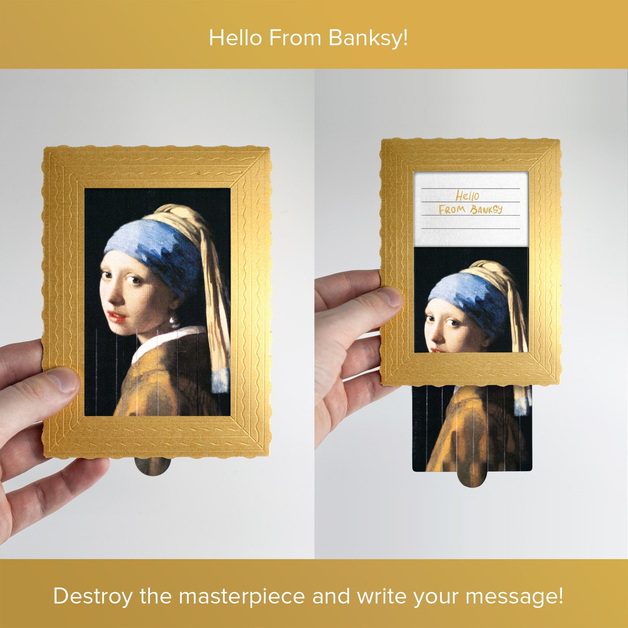 Hello From Banksy — Girl with a pearl earring - Johannes Vermeer, Postcards