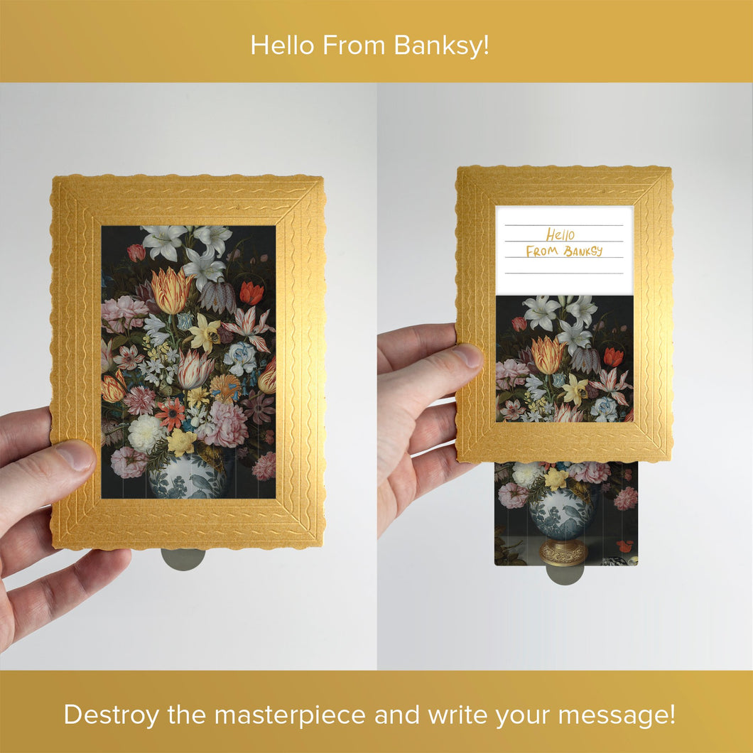 Hello From Banksy — Still Life of Flowers, Postcards