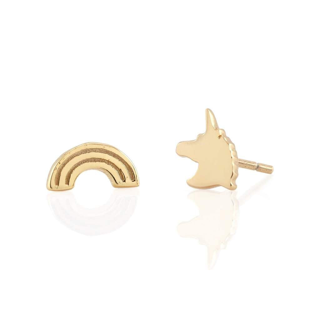 KRIS NATIONS - RAINBOW AND UNICORN STUD EARRINGS IN GOLD