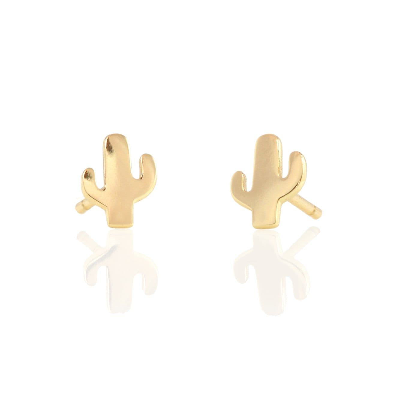 KRIS NATIONS - CACTUS STUD EARRINGS IN GOLD