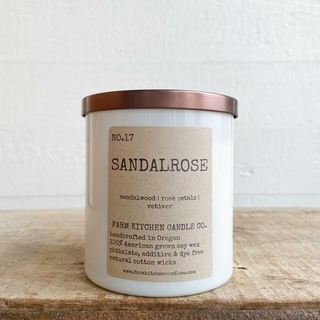 FARM KITCHEN CANDLE CO. - SANDALROSE SOY CANDLE 8.5OZ