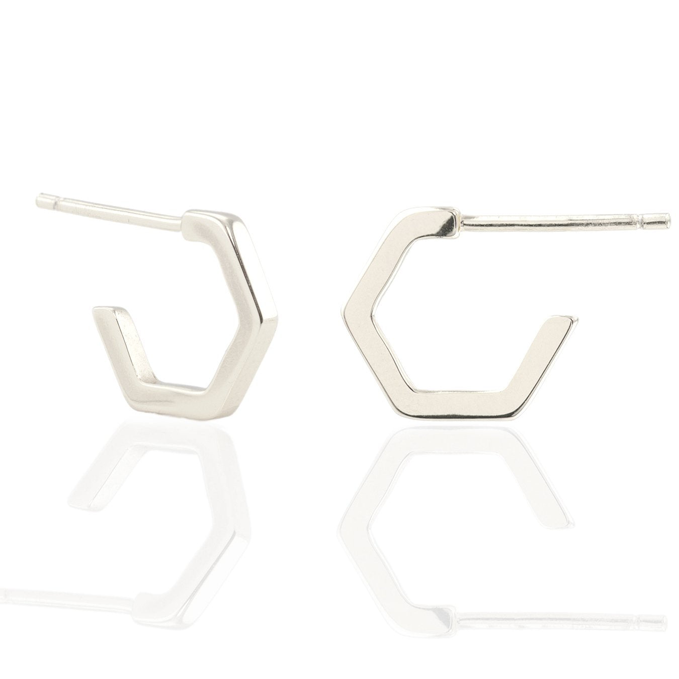 KRIS NATIONS - HEXAGON HUGGIE HOOP EARRINGS IN SILVER
