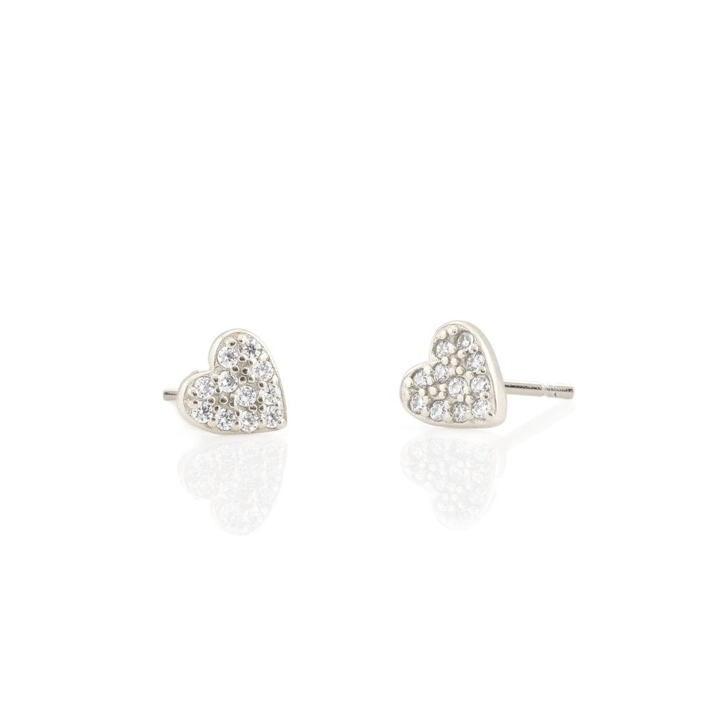 KRIS NATIONS - HEART PAVE STUD IN SILVER