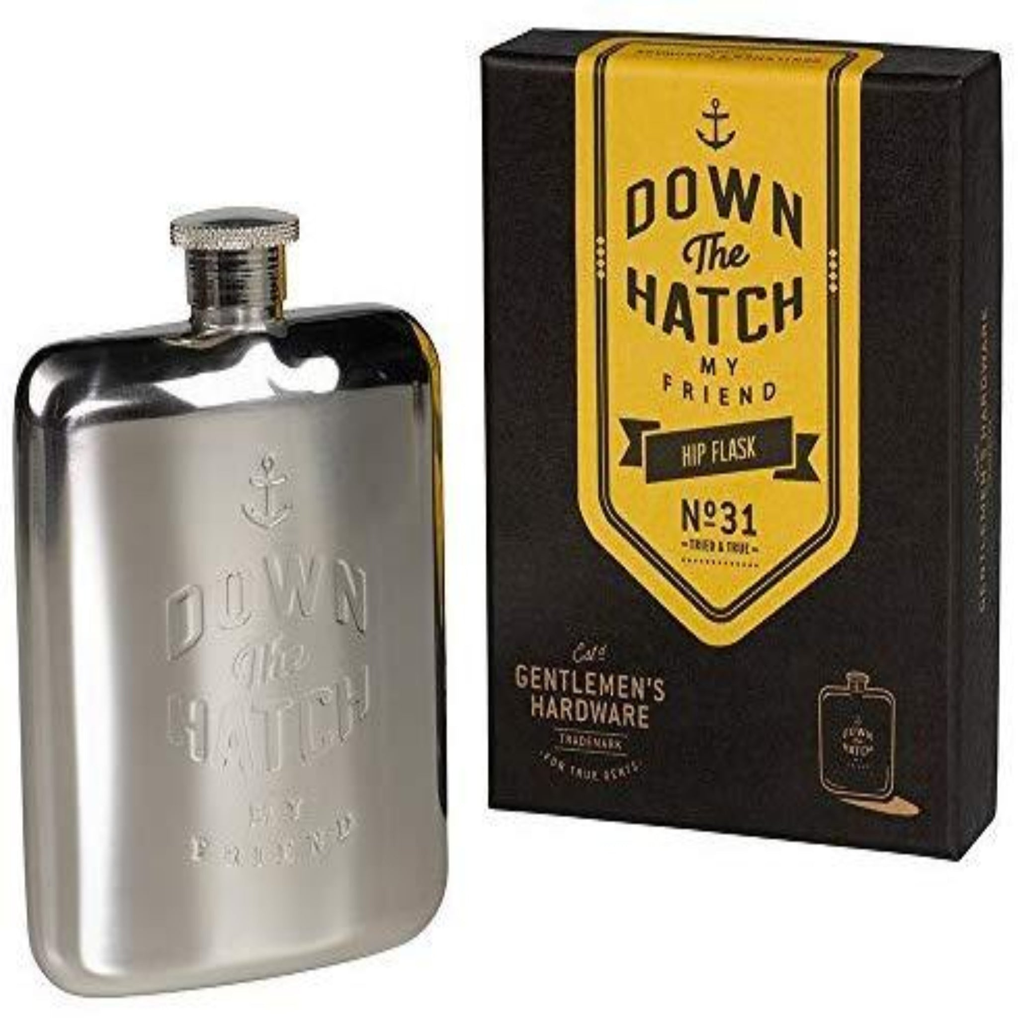 GENTLEMEN'S HARDWARE - DOWN THE HATCH HIP FLASK 6OZ