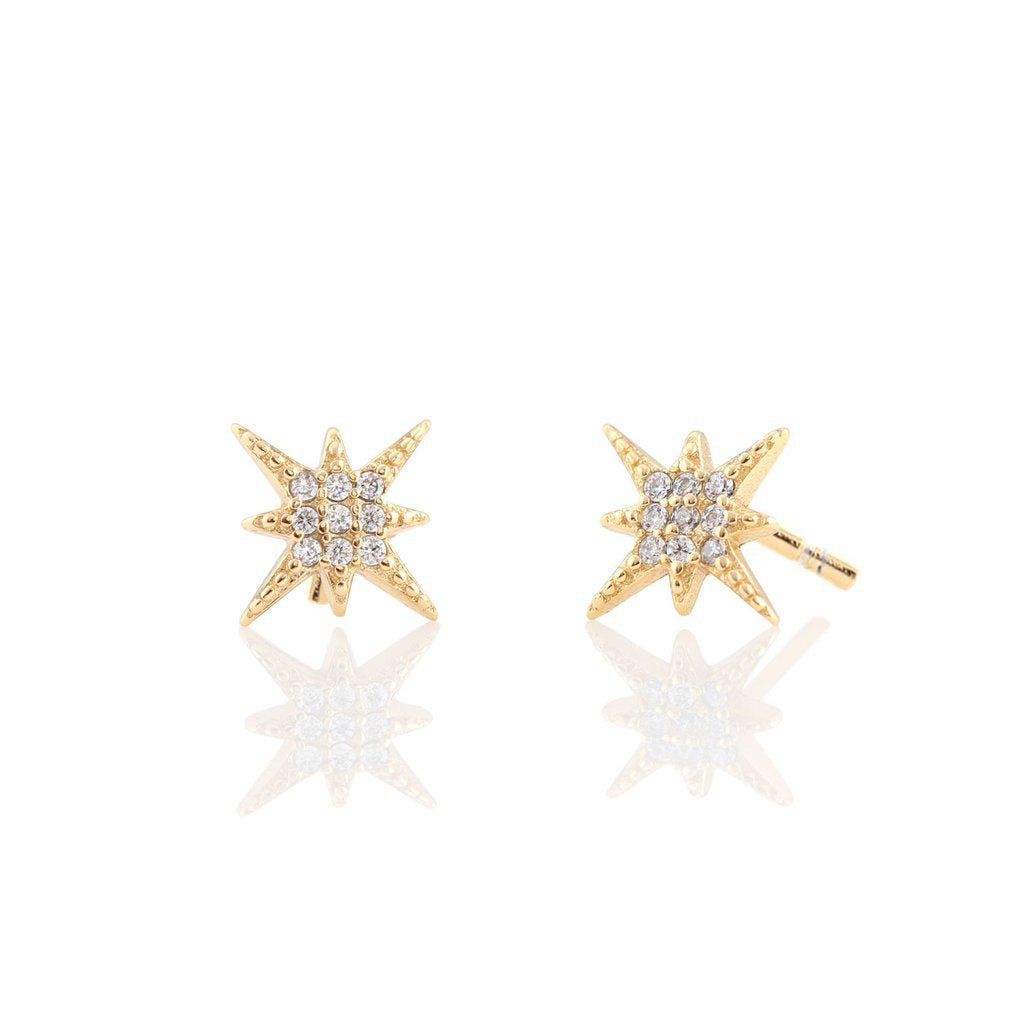 KRIS NATIONS - STARBURST PAVE STUD IN GOLD