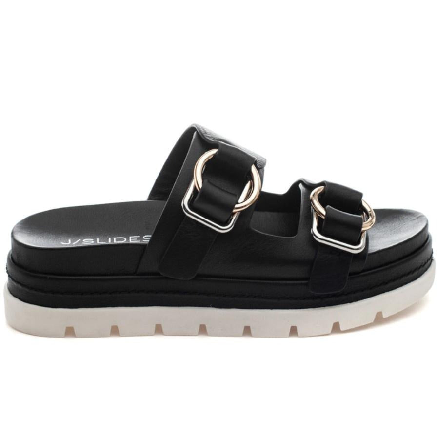J SLIDES - BAHA IN BLACK LEATHER