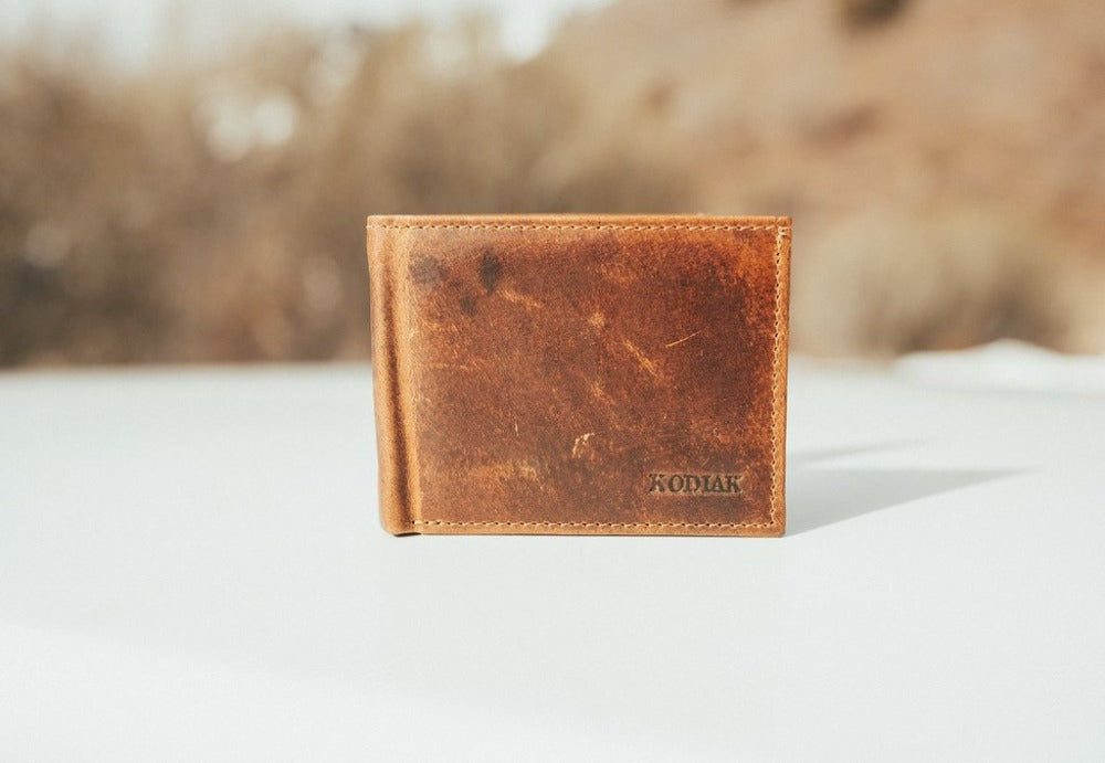 KODIAK - BIFOLD LEATHER WALLET IN ANTIQUE BROWN